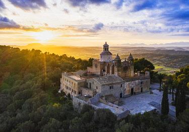IBXMAN05118520 Monastery Santuari de Bonany at sunset, near Petra, drone picture, Majorca, Balearic Islands, Spain, Europe