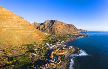 IBXMAN05118615 La Playa, behind La Calera and Vueltas, Valle Gran Rey, aerial view, La Gomera, Canary Islands, Spain, Europe