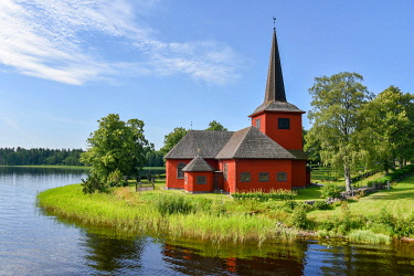 IBXMEA05087353 Lungsunds kyrka, church by a lake in Storfors, Varmland, Sweden, Europe