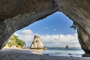 IBXROH04511829 View from Cave Cathedral Cave, Cathedral Cove, Mercury Bay, Coromandel Peninsula, North Island, New Zealand, Oceania
