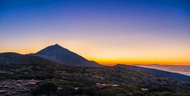 IBXVFW04505333 Sunset, sunset glow with evening star, cloudy sky, Volcano Teide and volcano landscape, backlit scenery, national park El Teide, Tenerife, Canary Islands, Spain, Europe