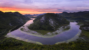 IBXVHE05110245 Sunrise over Lake Scutari, Rijeka Crnojevica, Montenegro, Europe