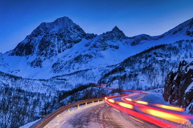 NOR1151AW Light Trails on Mountain Pass, Senja, Norway