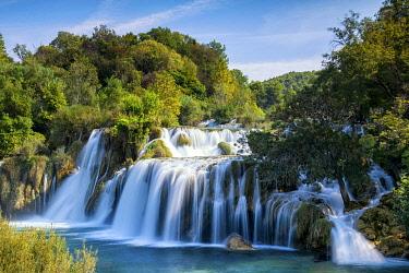 CRO1780AW Skradinski Buk Waterfall, Krka National Park, Sibenik, Dalmatia, Croatia, Europe