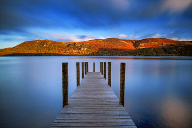 ENG16492AW Jetty on Derwent Water, Lake District National Park, Cumbria, England