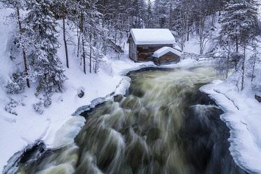 FIN1141AW Myllykoski Mill in Winter, Oulanka National Park, Kuusamo, Finland