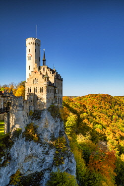 GER12045AW Lichtenstein Castle in Autumn, Baden-Wurttemberg, Germany