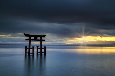 Japanese Torii Gate at Sunset, Lake Biwa, Takashima, Shiga Prefecture, Japan