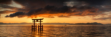 JAP2422AW Japanese Torii Gate at Sunrise, Lake Biwa, Takashima, Shiga Prefecture, Japan