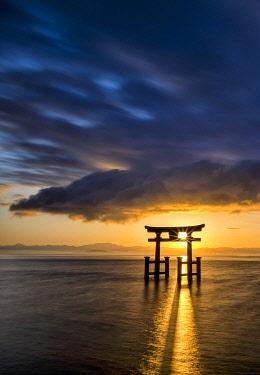 JAP2423AW Japanese Torii Gate at Sunrise, Lake Biwa, Takashima, Shiga Prefecture, Japan