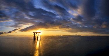 JAP2425AW Japanese Torii Gate at Sunrise, Lake Biwa, Takashima, Shiga Prefecture, Japan