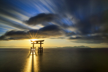 Japanese Torii Gate at Sunrise, Lake Biwa, Takashima, Shiga Prefecture, Japan