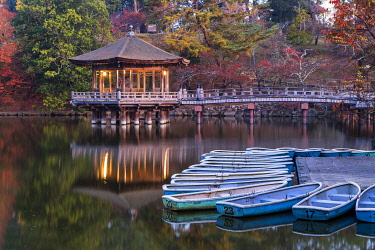 JAP2444AW Ukimido Pavilion in Autumn, Nara Park, Nara, Kansai, Japan