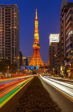 JAP2467AW Tokyo Tower at Night, Tokyo, Honshu, Japan
