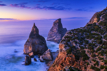 POR10838AW Sea Stacks at Sunset, Praia da Ursa,  Colares, Sintra, Portugal