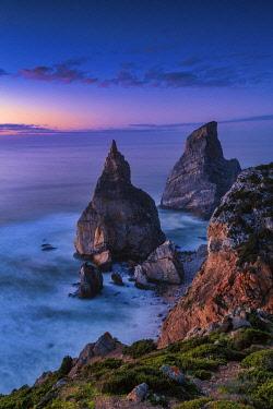 POR10839AW Sea Stacks at Sunset, Praia da Ursa,  Colares, Sintra, Portugal