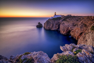 POR10847AW Cabo Sao Vicente Lighthouse at Sunset, Most Westerly Point of Europe, Algarve, Portugal