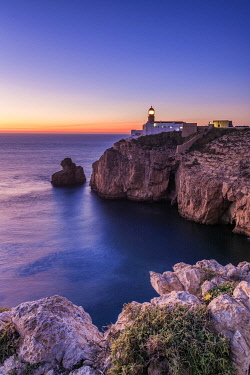 POR10849AW Cabo Sao Vicente Lighthouse at Sunset, Most Westerly Point of Europe, Algarve, Portugal