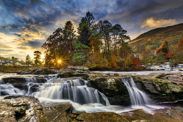 SCO35635AW Falls of Dochart at Sunset, Killin, Stirling, Scotland