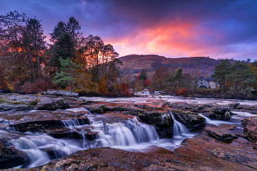 SCO35636AW Falls of Dochart at Sunset, Killin, Stirling, Scotland