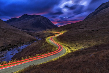 SCO35646AW Light Trails in Glen Etive, Highlands, Scotland