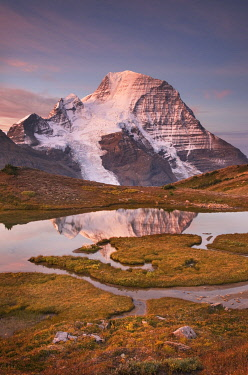 CN02AMA0018 Canada, British Columbia. Sunrise over Mount Robson, highest mountain in the Canadian Rockies, elevation 3,954 �m (12,972 �ft), seen from Mumm Basin, Mount Robson Provincial Park.