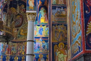 EU37KSU0165 Mosaic painting inside Oplenac Royal Mausoleum, also known as Saint George's Church, Topola, Serbia.