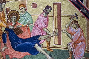 EU37KSU0166 Mosaic painting inside Oplenac Royal Mausoleum, also known as Saint George's Church, Topola, Serbia.