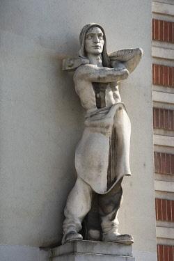 EU37KSU0187 Stone statue on the street, Novi Sad, Serbia.