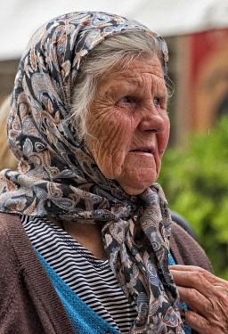 EU44KSU0104 Old Muslim woman on the street, Sarajevo, Bosnia.