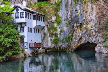 EU44KSU0131 Blagaj Tekija, a Dervish Monastery, at the spring of the Buna River, Blagaj, Bosnia.