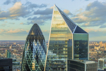 The Scapel building and The Gherkin which is also known as the Swiss Re building, London, England