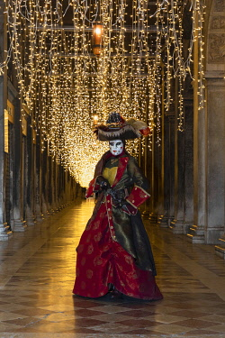 ITA15139AW A woman in costume poses in St. Mark's square during the Venice Carnival, Venice, Veneto, Italy