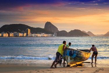 BRA3843AW South America, Brazil, Rio, Rio de Janeiro. Dawn light over the Atlantic ocean from Copacabana beach
