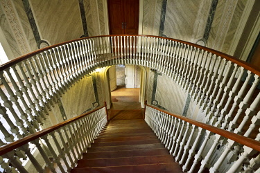 POR10872AW Pancas Palha Palace interior staircase from the 18th century. Lisbon, Portugal