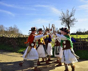 POR10887AW A folk group (Pauliteiros de Miranda) that practice an ancient warrior Iberian dance. Traditional Winter festivities in Constantim, Miranda do Douro. Trás-os-Montes, Portugal