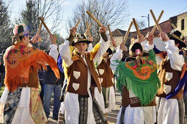POR10888AW A folk group (Pauliteiros de Miranda) that practice an ancient warrior Iberian dance. Traditional Winter festivities in Constantim, Miranda do Douro. Trás-os-Montes, Portugal