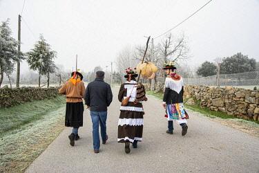 POR10891AW The three main characters of the Winter Solstice Festivities at Vila Ch�A? de Braciosa. Miranda do Douro, Portugal