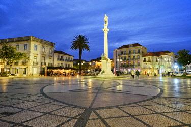 POR10903AW Praça de Bocage, the main square of Setúbal, at dusk. Portugal