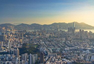 CH12386AWRF Kowloon and Hong Kong Island at sunset, Hong Kong