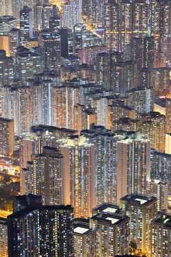 CH12384AW Apartment blocks at dusk, Kowloon, Hong Kong