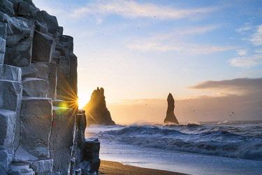 ICE4270AWRF Sea Stacks at Reynisfjara black sand beach, Vik, Iceland, Europe