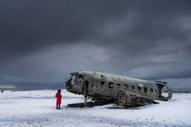 ICE4260AW US Navy plane wreckage, Solheimasandur, South Iceland, Iceland, Europe