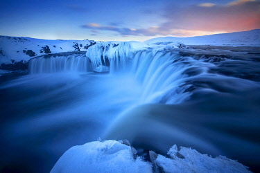 ICE42300AW Godafoss waterfall during a cold sunset in winter, Nordurland, Iceland