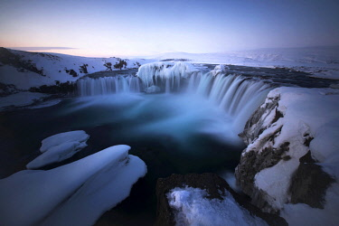 ICE42301AW Godafoss waterfall during a cold sunrise in winter, Nordurland, Iceland