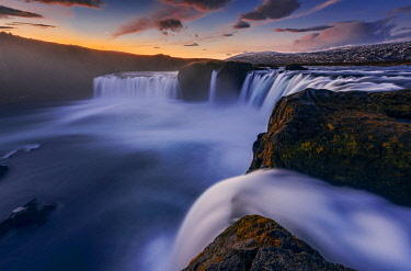 ICE42303AW Godafoss at dawn in autumn, Nordurland, Iceland
