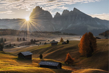 ITA15234AW Autumn sunrise at the Alpe di Siusi (Seiser Alm) in the Dolomites, Italy