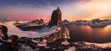 NOR1157AW Segla mountain rising above the fjord during a winter sunset, Senja island, Norway