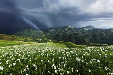 ITA15299AW Spring storm from the top of Monte Croce in the Apuan Alps, Tuscany, Italy