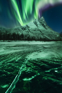 NOR1201AW Northern lights over Mount Otertinden in the Tromso region, Norway